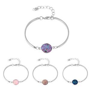 Fashion-Women-039-s-Bangles-Natural-Geode-Stone-Rhinestone-Pave-Bracelet-Cheap