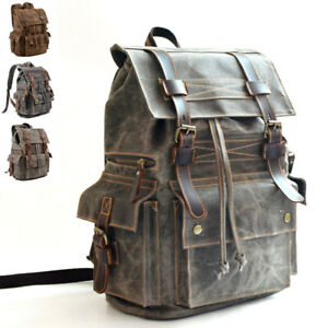 Vintage-Water-Resistant-Waxed-Canvas-Flap-Drawstring-Backpack-Day-Travel-Hiking