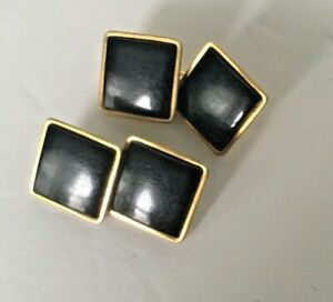 Swank-Mens-Cuff-Links-Vintage-Onyx-Gold-Plate-F
