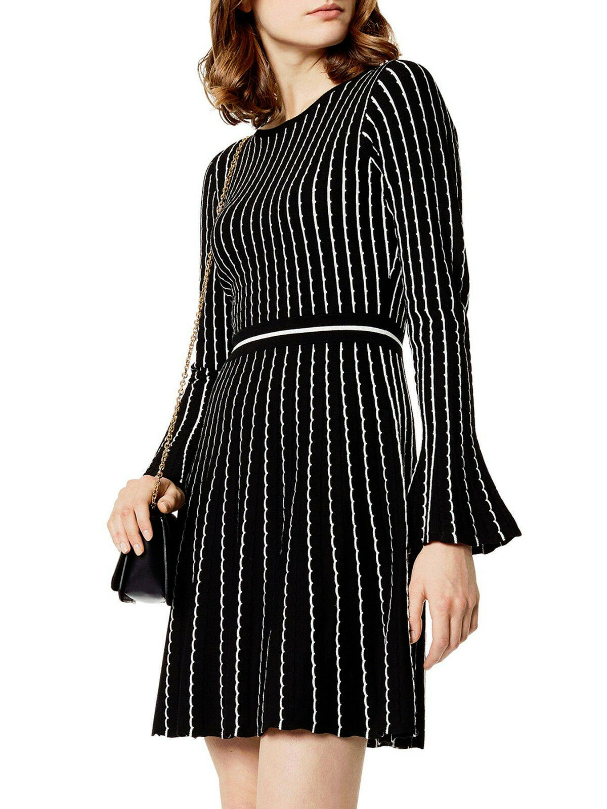 New KAREN MILLEN Pin Stripe Stripe Stripe BNWT  Evening Bodycon FIt & Flare Knit Dress | Innovation
