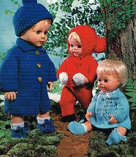 "Dolls clothes knitting pattern.12-14-16"" doll. Laminated copy. (V Doll 166)"