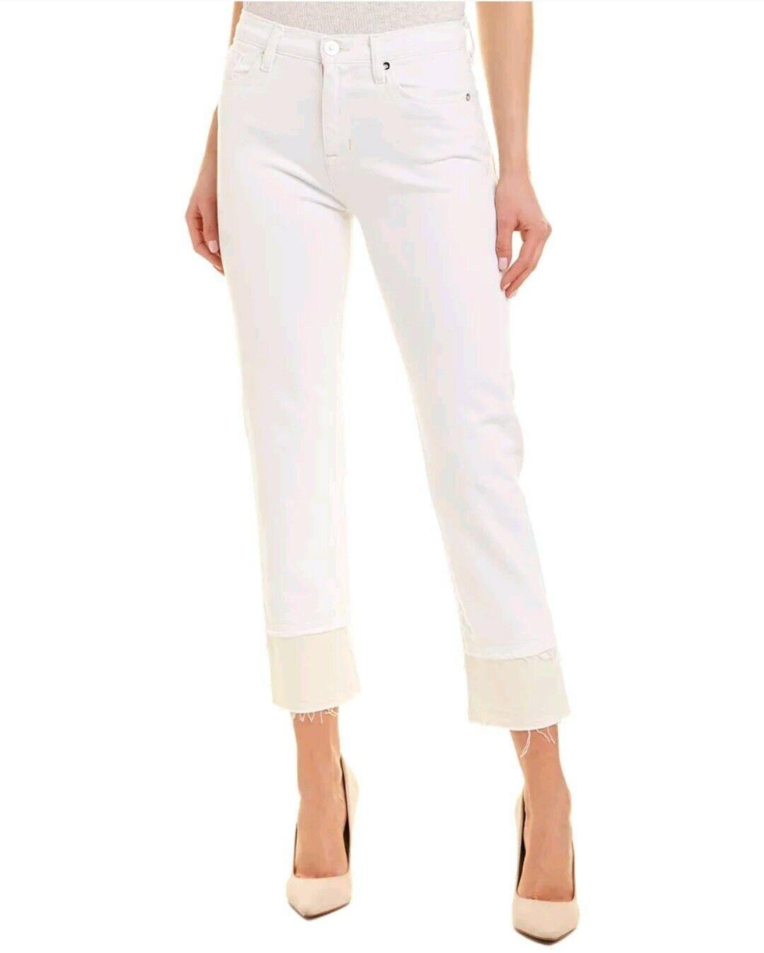 HUDSON Zooey Women 25x25 White Jeans Double Step Hem Stretch High Rise NWT