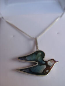 .925 Sterling Silver Resin Filled - Dove Pendant Necklace - NEW - Hand Made
