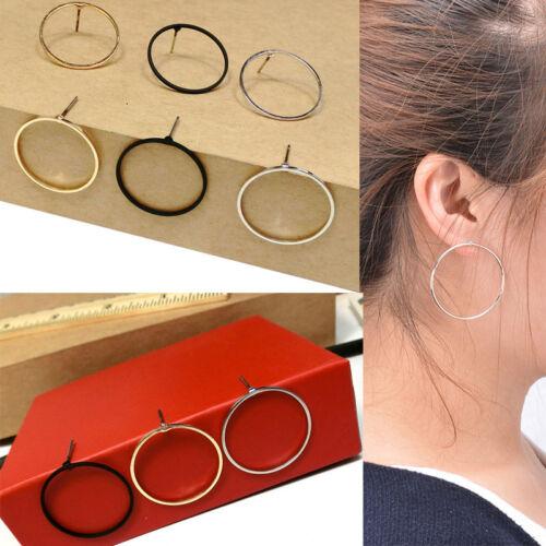 1 Pair Women Elegant Geometric Round Circle Ear Stud Earrings Nice Design Ullm