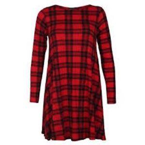 Womens-Red-Tartan-Print-Long-Sleeve-Swing-Skater-Dress-Plus-Size-8-26-NEW