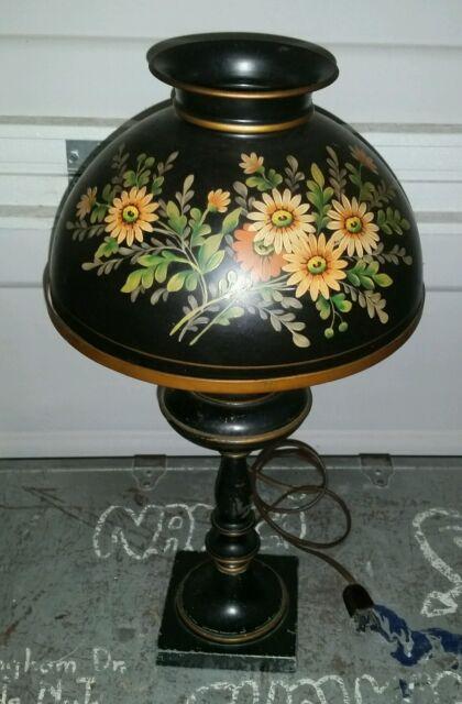Lamps: Electric Beautiful Antique Metal Toleware Lamp Flour Bin Canister