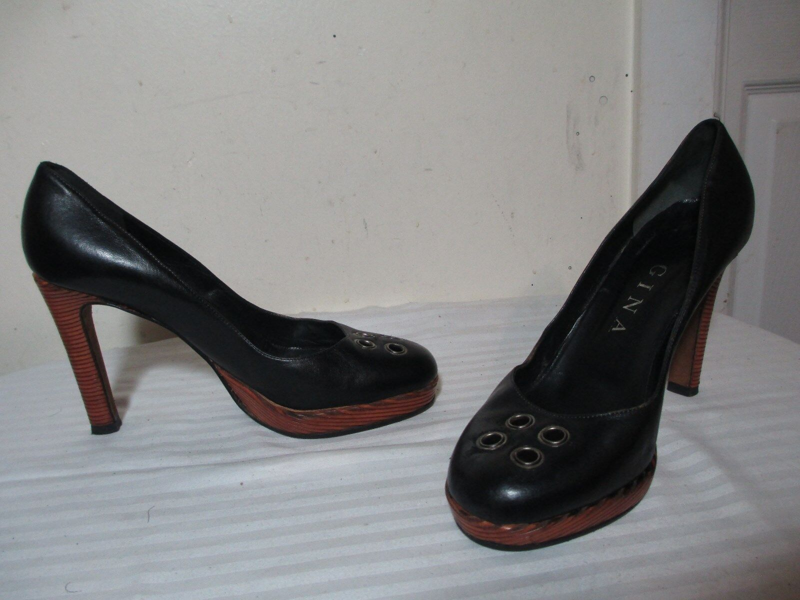 GINA BLK LEATHER PLATFORM METAL RINGS ALMOND TOE PUMPS UK 6 US 8 MADE IN ENGLAND