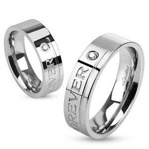 NEW-QUALITY-Stainless-Steel-CZ-Love-You-Forever-Comfort-Ring-Size-10-723