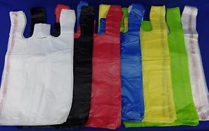 11-5-034-x-6-034-x-21-034-T-Shirt-Bags-Plastic-Retail-w-Handles-Variety-of-Colors-amp-Qty