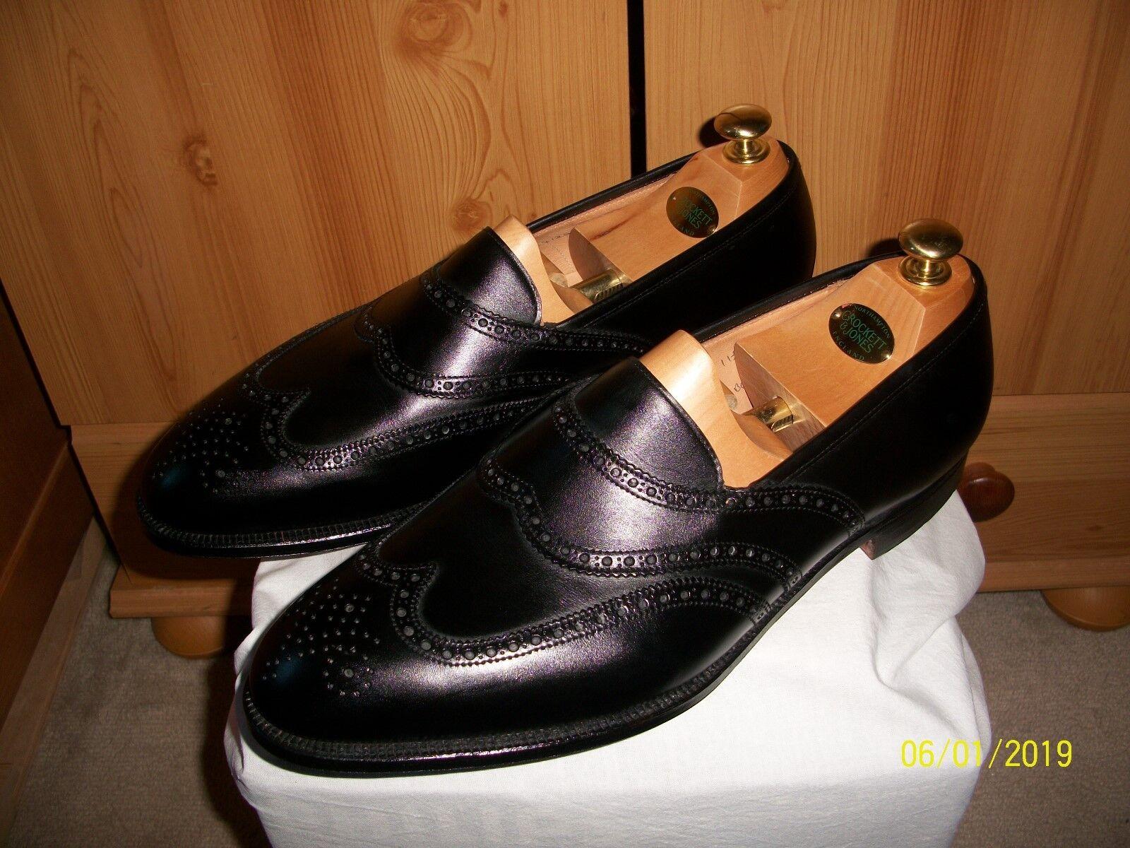 Vintage CROCKETT & JONES  Marlborugh  Chaussures – Sz 11.5 (Noir) Main Grade Mocassin