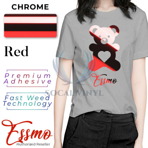Red Chrome Heat Transfer Vinyl Roll HTV Roll T-Shirt 20Iron On Heat Press DS12