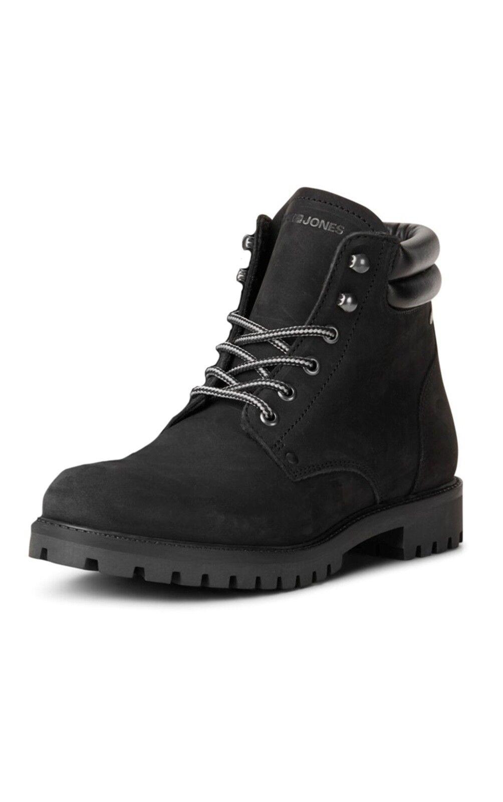JACK & JONES Nubuck Stoke Leather Boots High Top shoes Mono Black Biker Boot