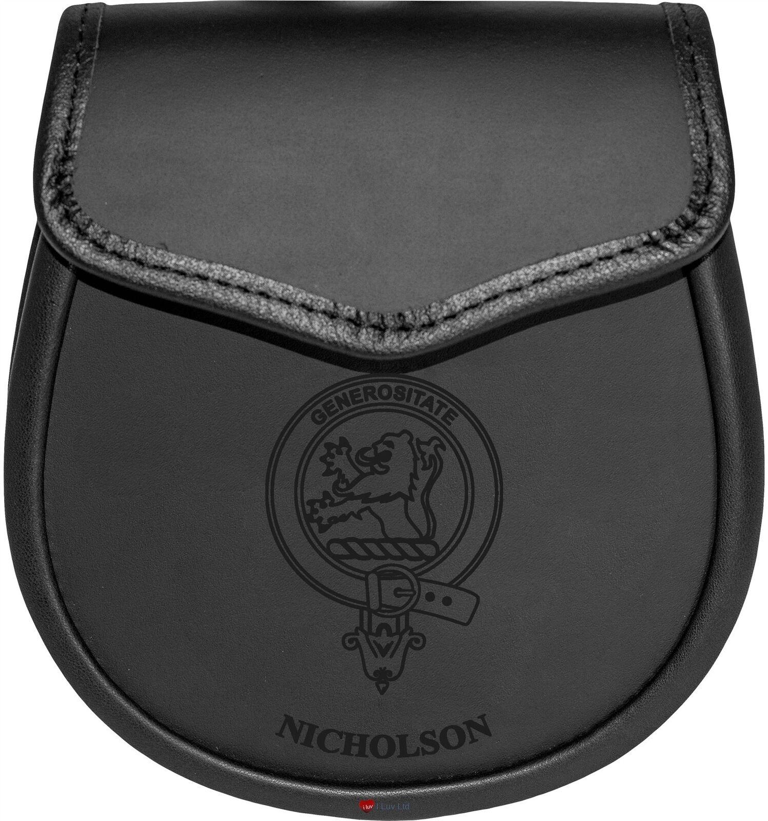 Nicholson Leather Day Sporran Scottish Clan Crest