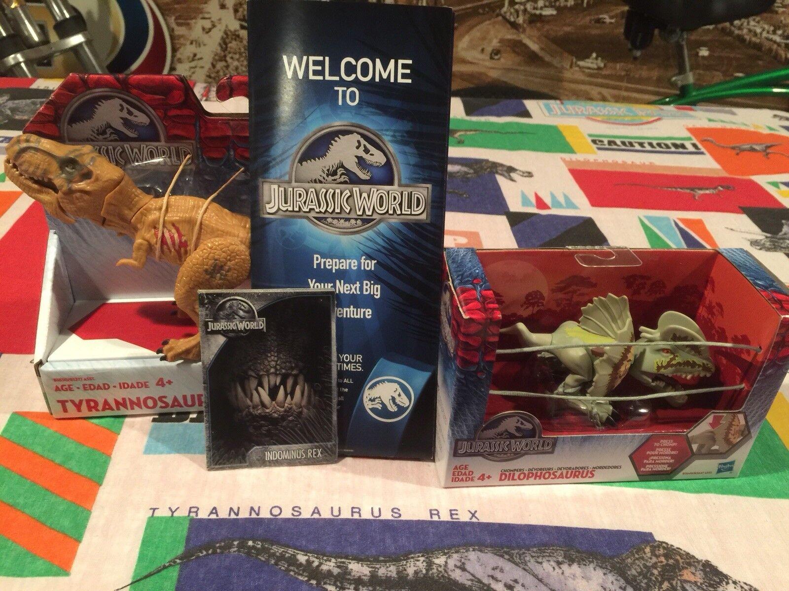 Jurassic World Lot / T-rex / Dilophosaurus / + Best Buy Exclusive Map & Cards