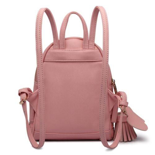 New Ladies Pink Stylish PU Leather Laptop iPad Womens Backpack Girls School Bag