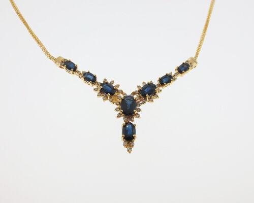 Fine Estate 4.35ctw Natural bluee Sapphires Diamonds Solid 14k Yellow gold 18  Ne