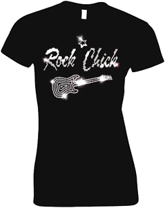 ROCK Chick Ladies Fitted T Shirt Crystal Rhinestone Design ALL SIZES