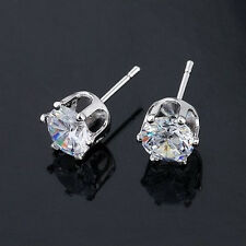 18k White Gold Plated Clear Crystal 6 mm Zircon Studs Earrings High Quality E212