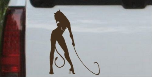 Devil Girl With Whip Car or Truck Window Laptop Decal Sticker