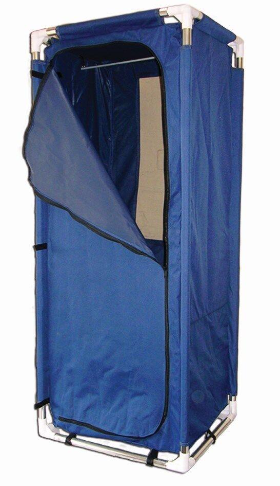 Armario de camping con Varilla Colgante 57x4 x140 Cm Azul Marino 420D Poly Marco De Aluminio