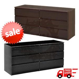 6 Drawer Dresser Bedroom Decor Chest Of Drawers Modern Furniture Black Or Brown Ebay