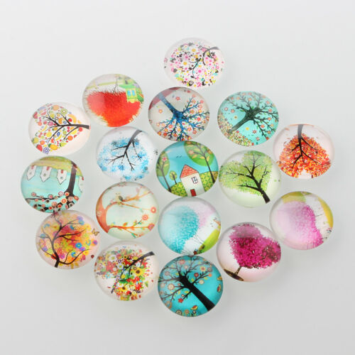 LOT de 10 CABOCHONS en VERRE MOTIFS ARBRE DE VIE TREES NATURE ronds 10mm perles