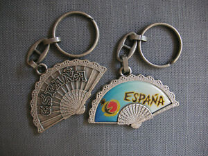 Spain Fan Key-chain - Pewter-toned - España - Sunset