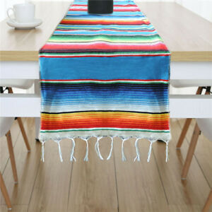 Mexican-Serape-Tablecloth-Table-Runner-Table-Cover-Fringe-Cotton-Wedding-Decor