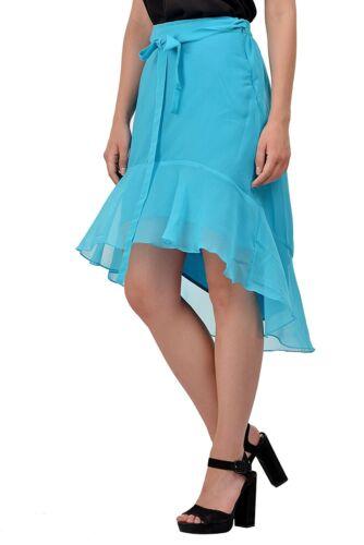 Women/'s Ruffle Skirt High Low Elastic Waisted Georgette Wear Drawstring Skirt