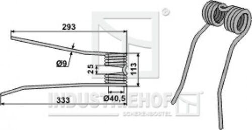 Zettrechwender 333//293 x 113 x 9 m Ausführung links  L x B x S Federzinken,