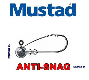 3-Pezzi-Mustad-Jig-Heads-Antinceppamento-Weedless-Misure-Pesi-Rotondo-Esca-da