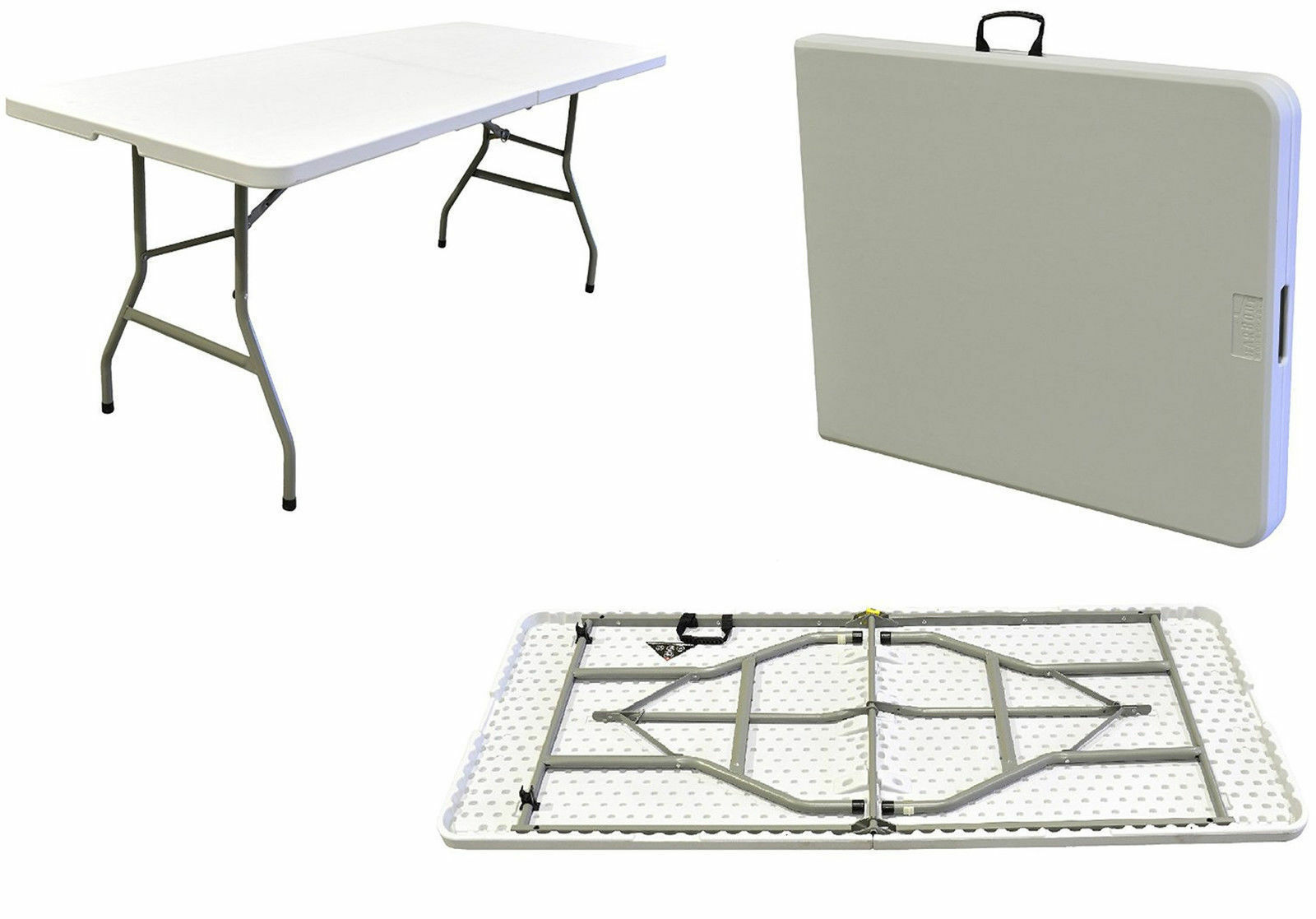 HEAVY DUTY 6FT OUTDOOR PLASTIC TABLE HALF FOLDING MARKET STALL PASTING CAR BOOT