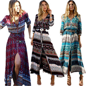 Details about Womens Boho Floral Split Long Maxi Dress Summer Beach Casual  Dresses Plus Size