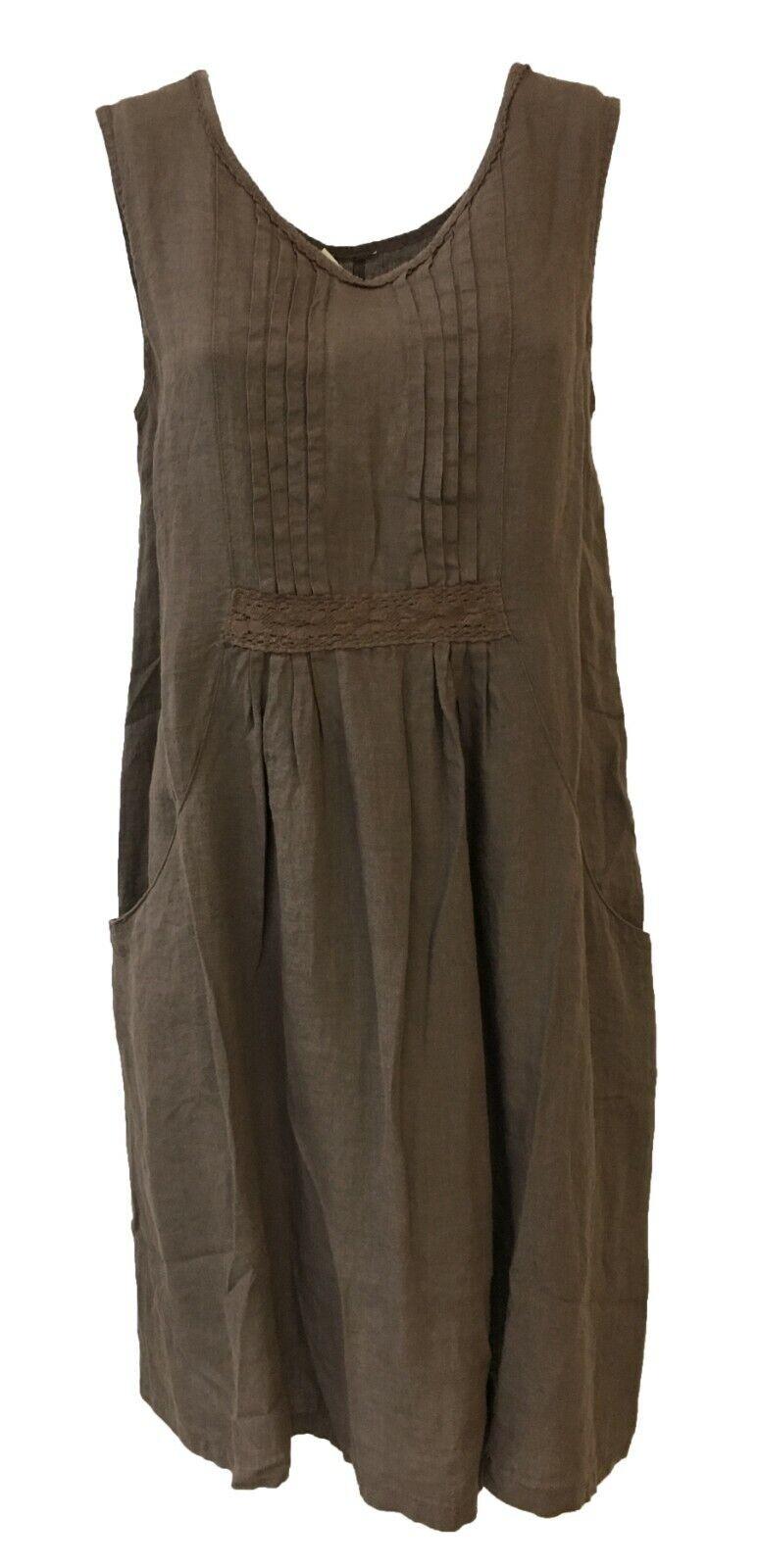 Kleid Frau ohne Muffe MGold Demut 1949 100% Leinen Made in  HA4052