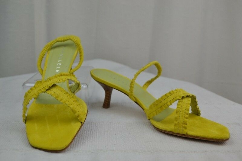 Sandals Backless shoe PARALLELE Suede Velvet Yellow Green T 39,5 MINT