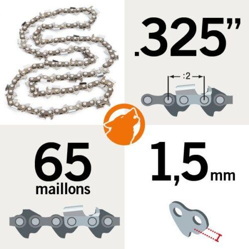 """1,5mm Chaîne tronçonneuse KERWOOD 65 maillons 0.325/"""""""