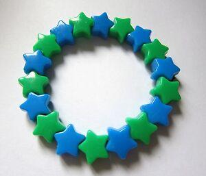 Kitsch-Neon-Blue-and-Green-Plastic-Star-Bead-Elastic-Bracelet-Retro-Emo-Goth