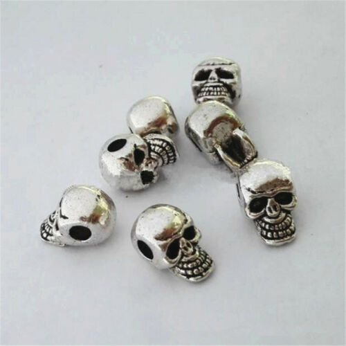 plata antigua espaciador perlas pulsera joyería cabeza del cráneo hallazgos 4mm Hole 10 un