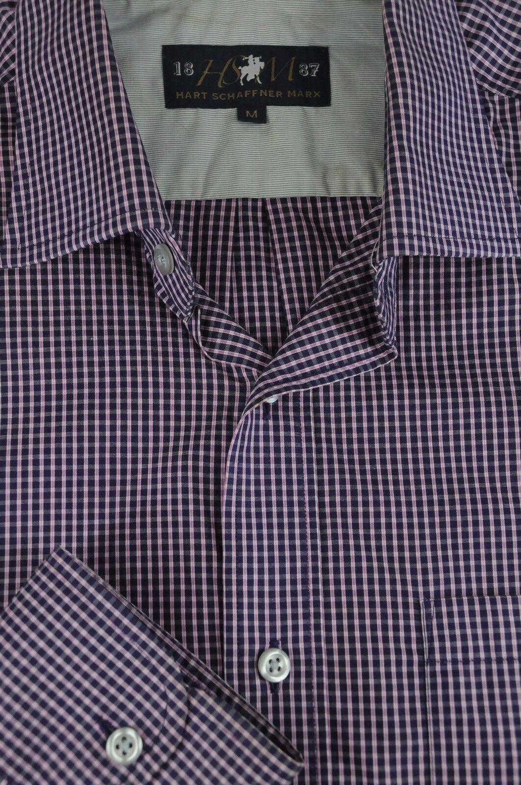 Hart Schaffner & Marx 1887 Men's Navy & Pink Cotton Casual Shirt M Medium