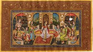 Handmade-Mughal-Miniature-Painting-Of-Emperor-Enjoying-Hookah-And-Lady-Dance