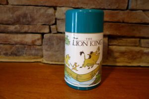 Vintage-Aladdin-Brand-Disney-Lion-King-Thermos-Teal-Color-3-Pieces-Complete