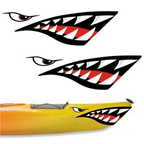 Car Boat Kayak Shark Teeth Mouth Eyes Waterproof Decal Funny Stickers LC