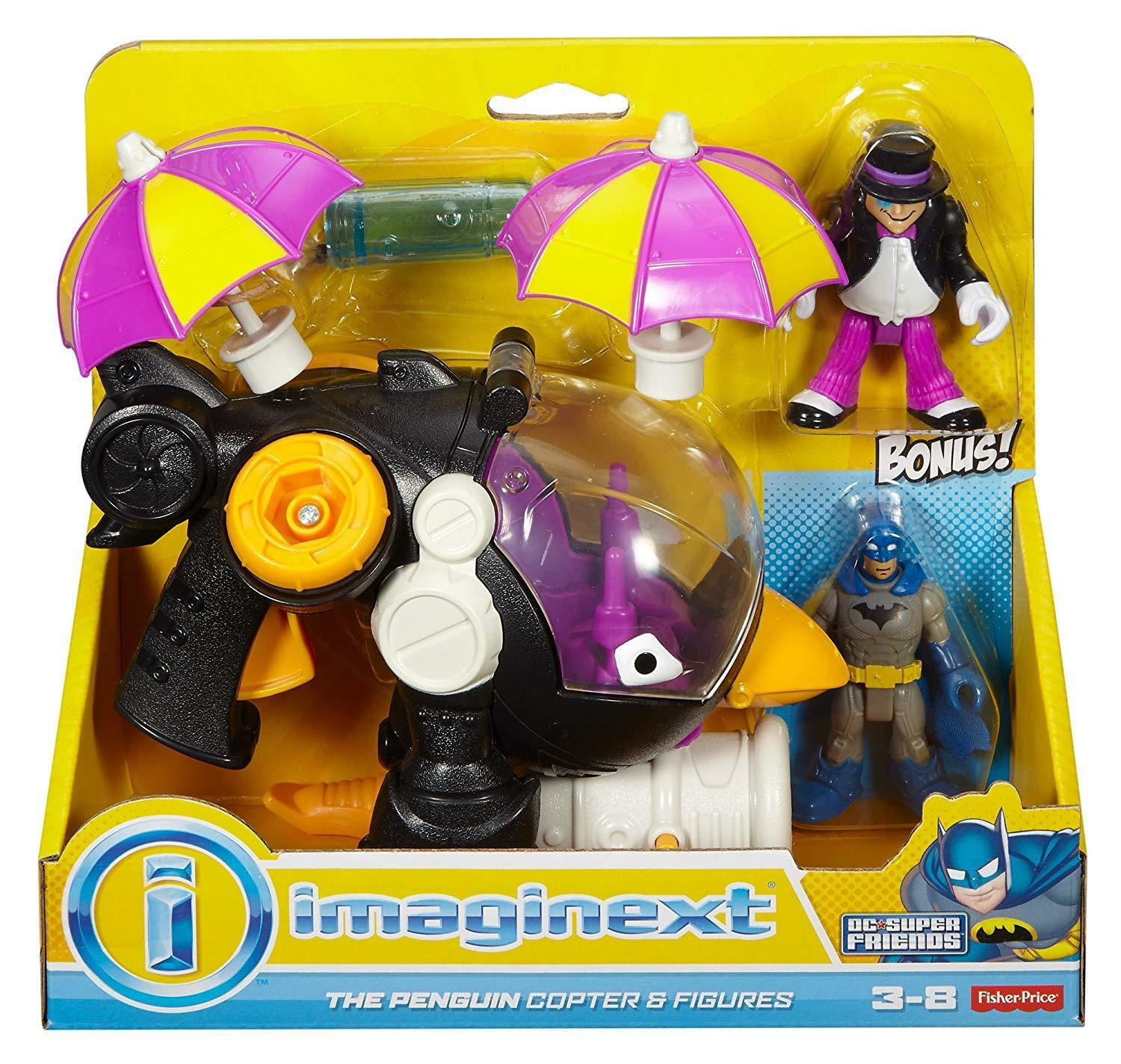 NIB Fisher Price Imaginext DC Super Friends The Penguin Copter and Batman Toy