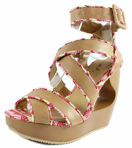 a8beabf5b24 New Qupid Lisbeth 01 Tan Criss Cross Wedge Platform Open toe Sandals ...