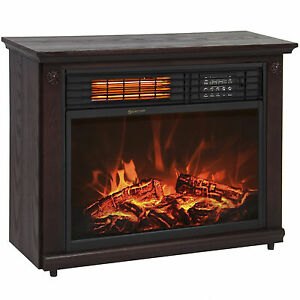 Large Room Infrared Quartz Electric Fireplace Heater Dark