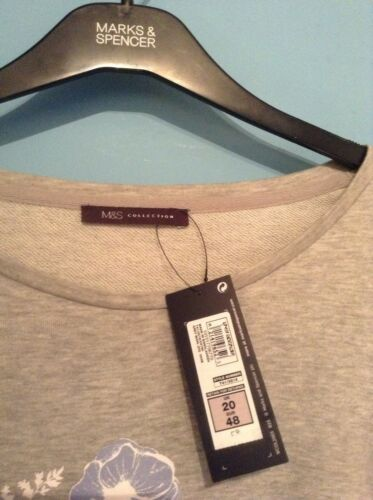 FLORAL DESIGN GREY MARL BNWT M/&S COLLECTION LADIES TOP SIZE 20