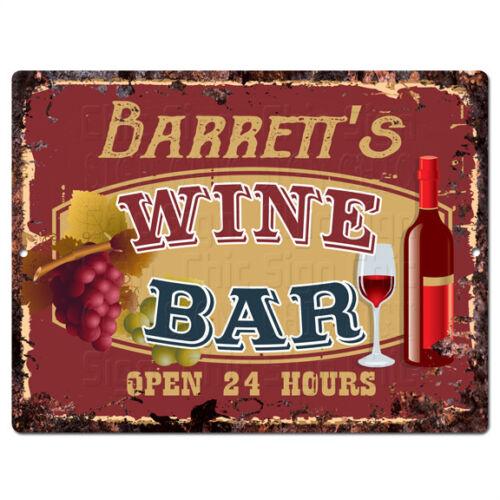 PLWB0288 BARRETT/'S WINE BAR Rustic Tin Chic Sign Home Store Decor Gift Ideas