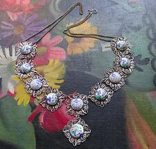 vintage art deco SILVER filigree enamel painted bird flower panel necklace -C429