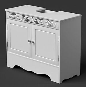 under sink basin cabinet bathroom storage unit white wooden cupboard