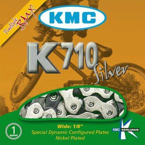 """KMC HL710 Silver Single-Speed Half Link Bike Chain 1//2/"""" x 1//8/"""" BMX Fixie Track"""